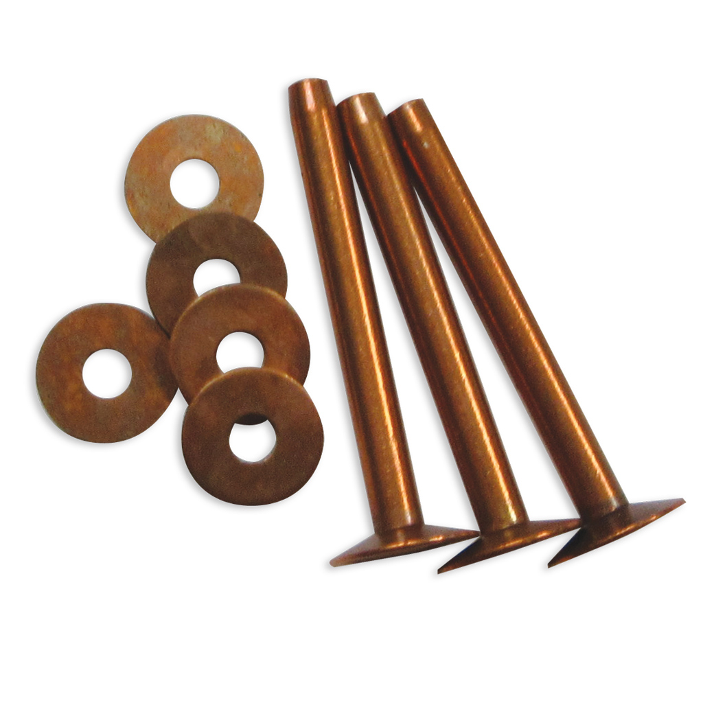 "Copper Rivets Regular With Washers #10 CR101 1"" 100/pk"