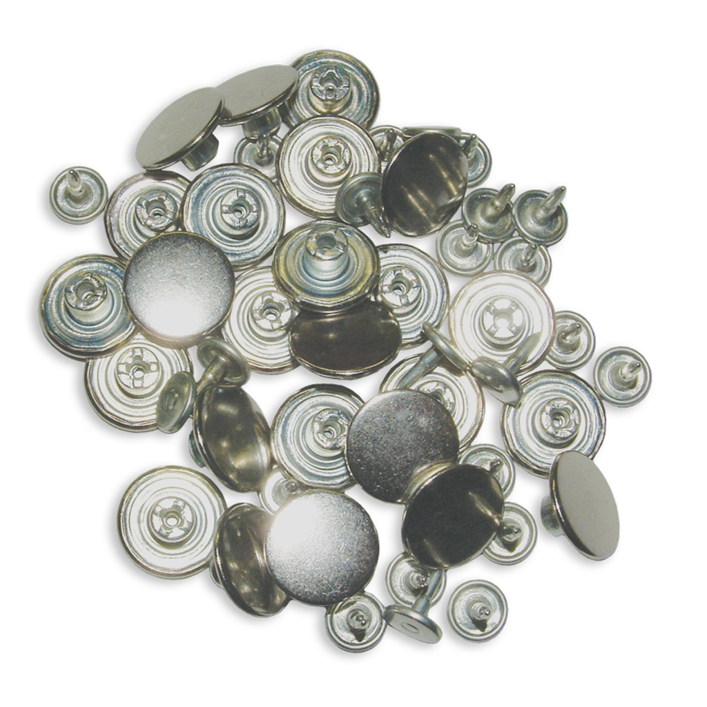 Two Piece Pant Suspender Buttons Silver BACH 25/Pack